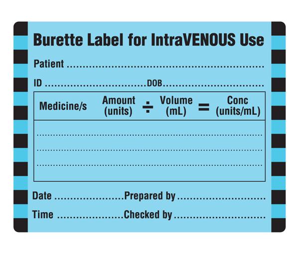 IntravenousBuretteLabel on Veterinary Hospital Logos
